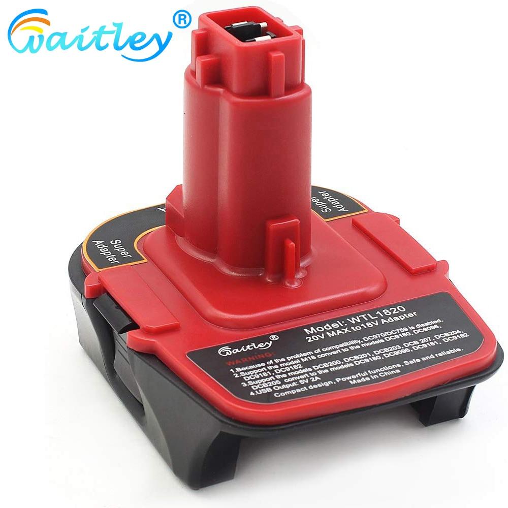 Waitley DCA1820 Battery Adapter For Dewalt MAX XR 18V-20V Converter With USB Power Bank Function Compatible With DC9096 DE9096