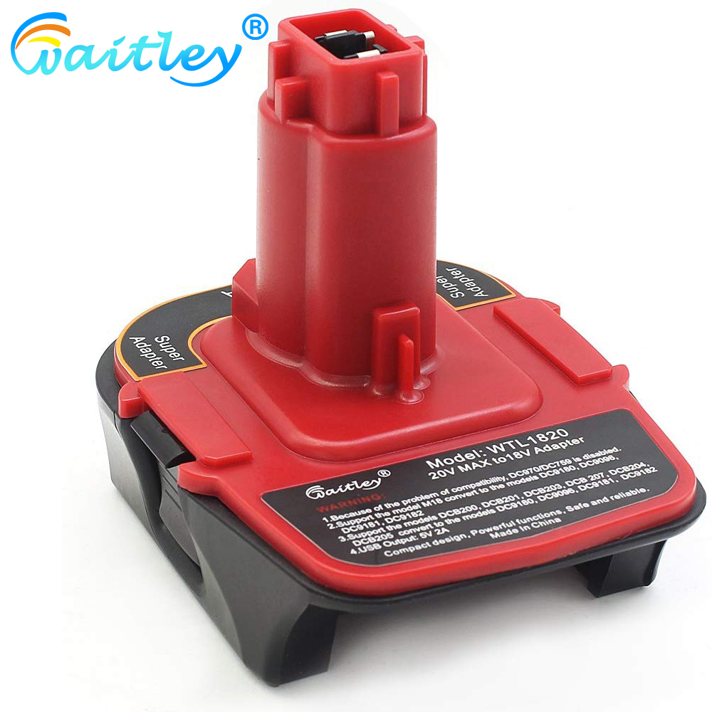 Waitley DCA1820 Battery Adapter for Dewalt MAX XR 18V-20V Converter with USB Power Bank Function Compatible with DC9096 DE9096 title=