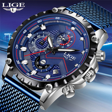 LIGE New Watch For Men Blue Casual Mesh Belt Fashion Quartz Watch Mens Watches Top Brand Luxury Waterproof Clock Erkek Kol Saati fashion erkek saat quartz watch bayan kol saati fashion casual leather three movements mens watches top brand luxury relogio box