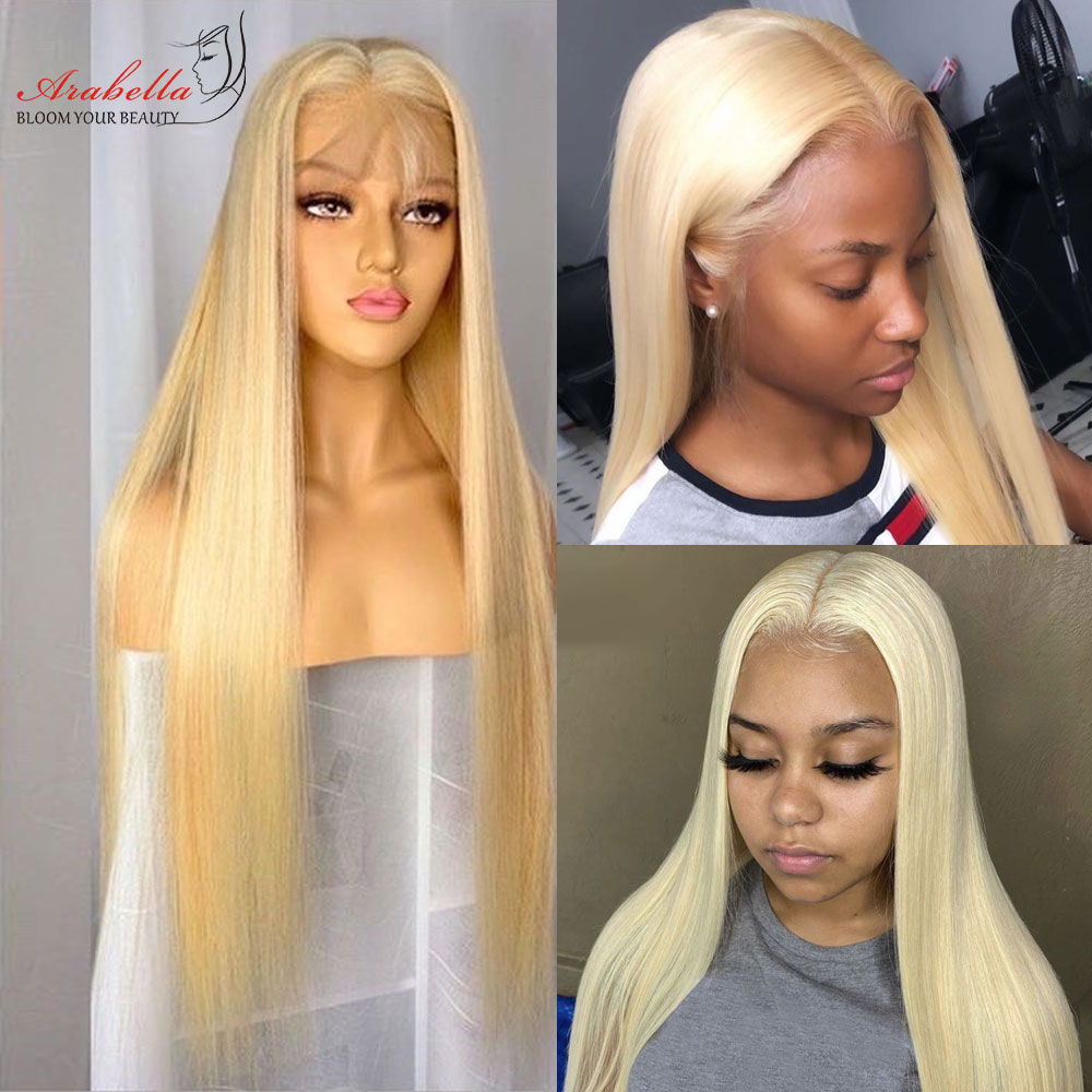 613 Lace Front Wig  Straight  Wigs Arabella Transparent Lace Wig Pre Plucked HD Blonde Lace Front Wig T Part Wig 4