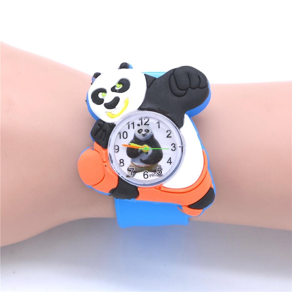 Милые часы с пандой для маленьких детей, стильные часы для мальчиков с изображением животных, 21 см. Кварцевые часы с резиновым ремешком