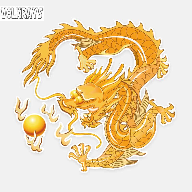 Volkraysสติกเกอร์รถความคิดสร้างสรรค์สีมังกรลมจีนกราฟิกอุปกรณ์สะท้อนแสงกันน้ำพีวีซีรูปลอก,14 ซม.* 13 ซม