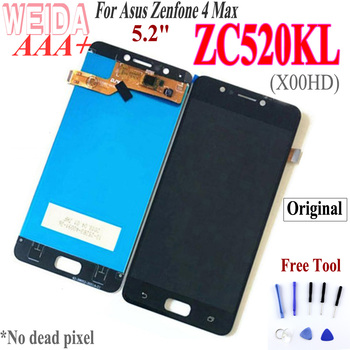 WEIDA original For Asus ZenFone 4 MAX ZC520KL X00HD LCD Display Touch Screen Digitizer Assembly Frame Replacement Free Tools original 5 2 for asus zenfone 3 max zc520tl x008d lcd display touch screen digitizer assembly with frame for asus zc520tl lcd