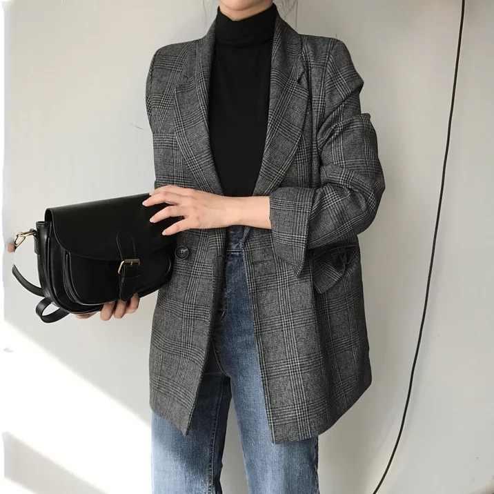 Blazer de xadrez de casaco de algodão de manga comprida feminino