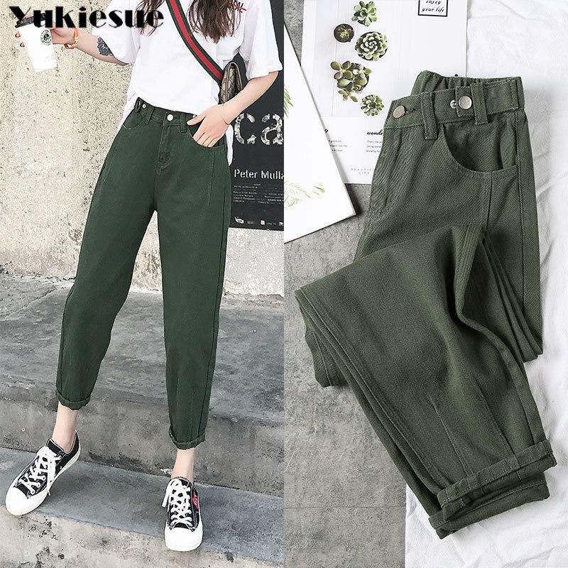 Jeans para Namorado Calça Jeans Feminina Cintura Alta Elástica Tamanho Grande 2020 S-xxl