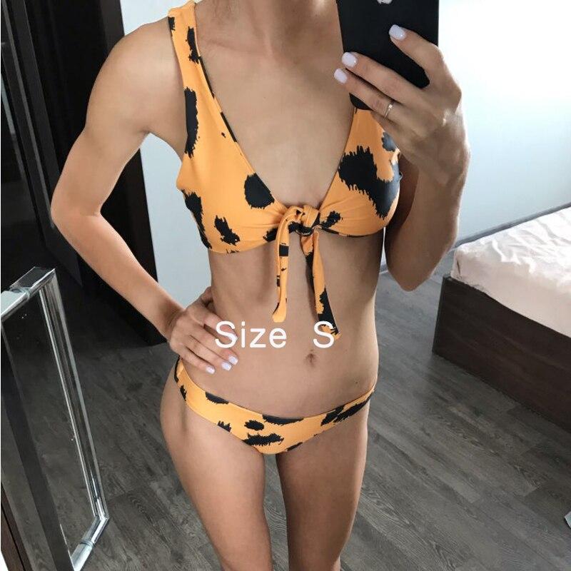 Hot Biquinis 2018 Chest Knotted Swimwear Solid Bikini Set High Waist Bathing Suit Push Up Swimsuit For Women Swimwear