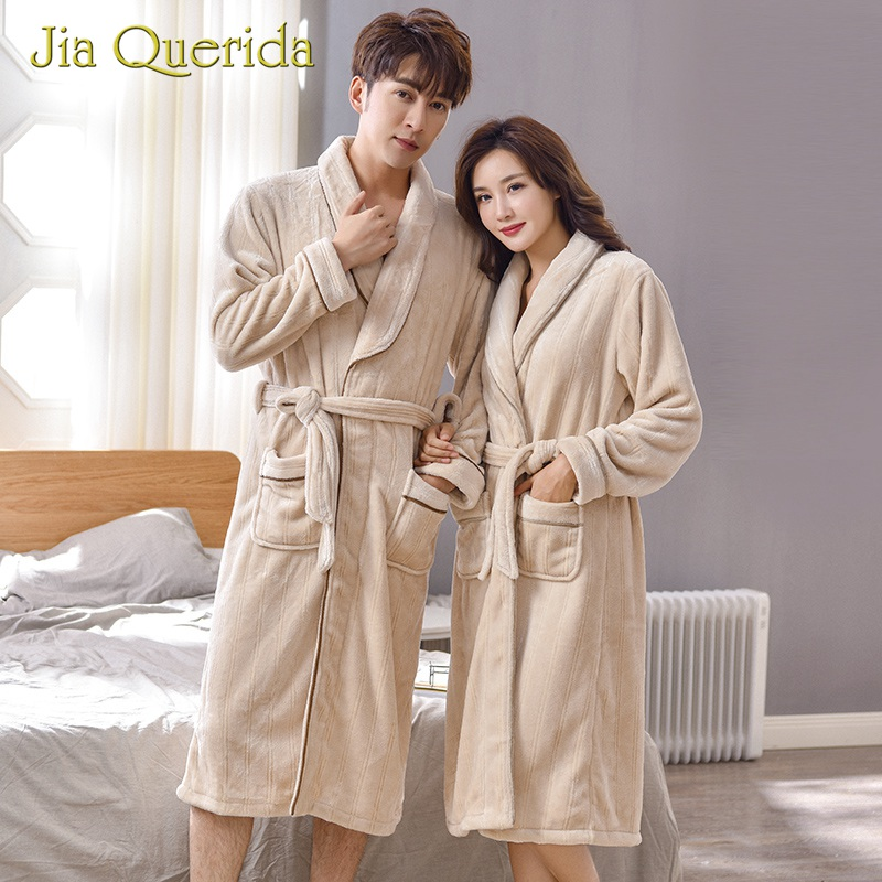 Couple Robes Winter Bathrobes Long Sleeves Teddy Style Khaki Soft Warm Flannel Home Wear Turn-down Collar Women And Men's Robe