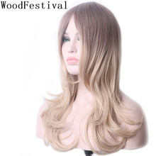 цена на WoodFestival Women Synthetic Wigs Heat Resistant Mix Brown Long Wavy Cosplay Wig with bangs