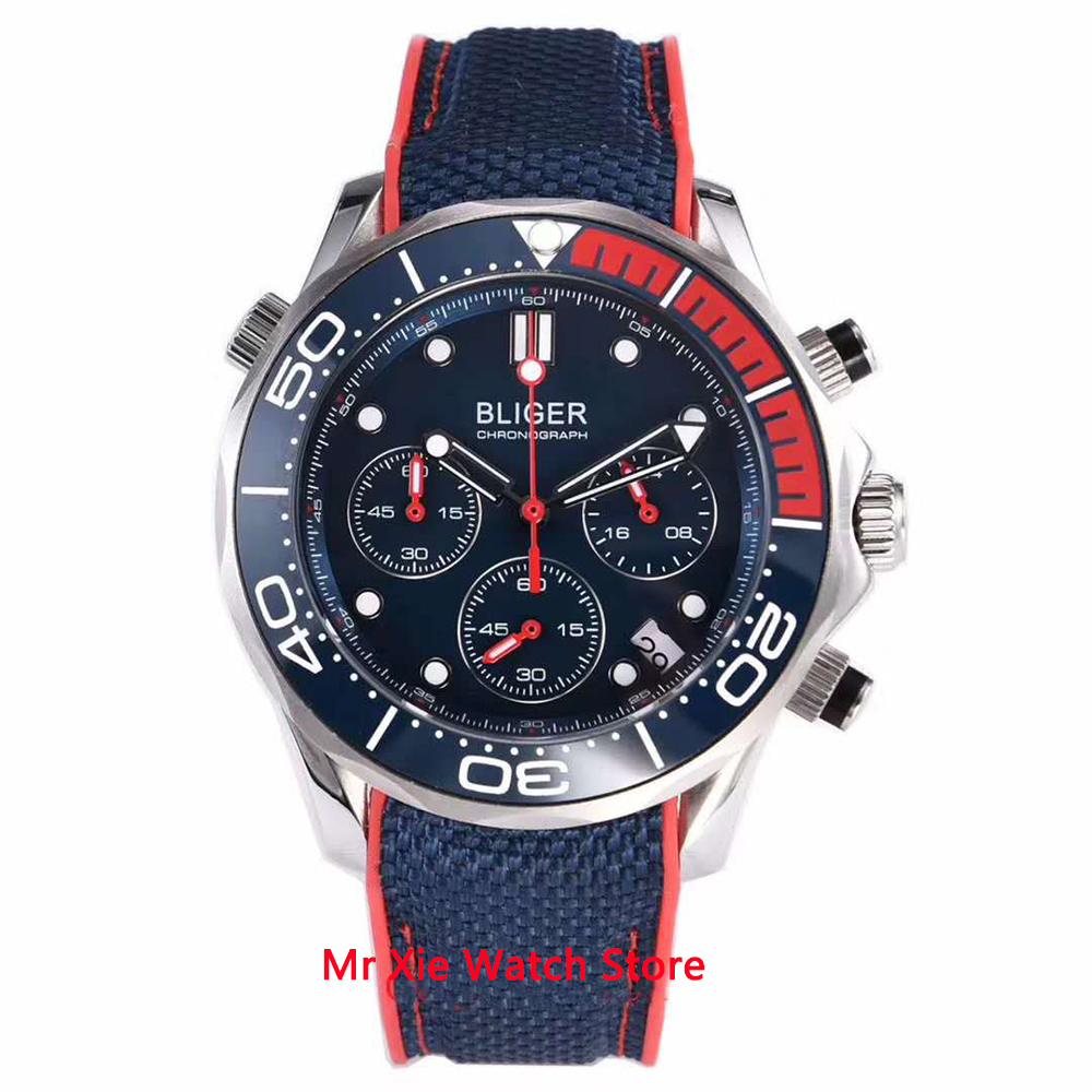 Bliger 41mm VK Quartz Wristwatch Men Sapphire Glass Luminous Waterproof Rubber Strap Date Sport Chronograph Function Watch Men