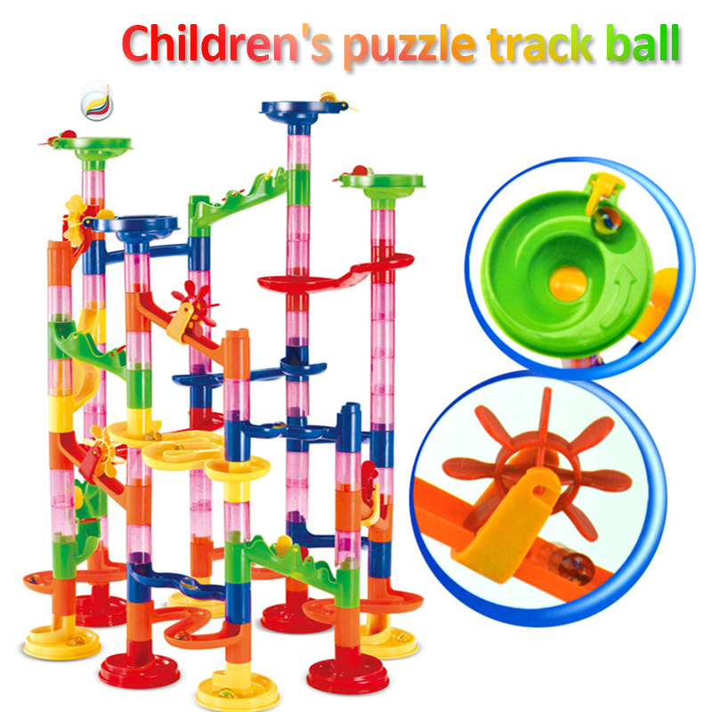 New 105/109 Pieces Set DIY Marble Construction Race Track Building Blocks Children Maze Ball Roll Toys For Christmas Xmas Gift