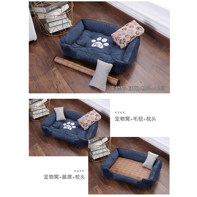 CANILE Soft Pet Bed For Dogs Washable House For Cat Puppy Cotton Kennel Mat Pet Bed Warm Pet Products For Small Medium Large Dog 5