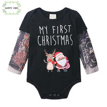 Kids Clothing Boys Girls Tattoo rompers Father Christmas Infant New Cartoon deer Long Sleeve Jumpsuit cool Printed romper DLY531(China)