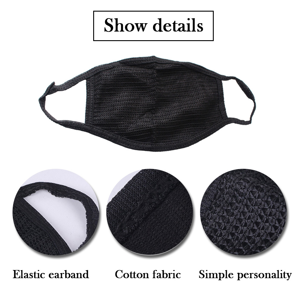 Anti-dust Breathable Earloop Mouth Face Mask Protection Care Black Mask Cotton Mask Or 10 Pcs Filter Unisex Black Cycling