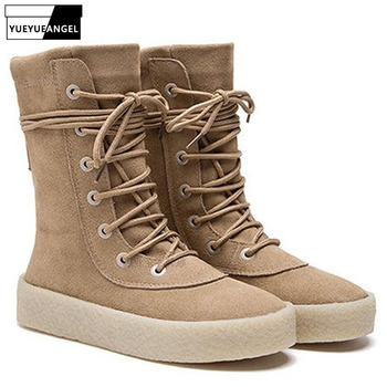Fashion Men Boots Cow Suede Leather Desert Boots Lace Up Casual Mid-Calf Boots Luxury Brand Winter  Booties Flats Footwear