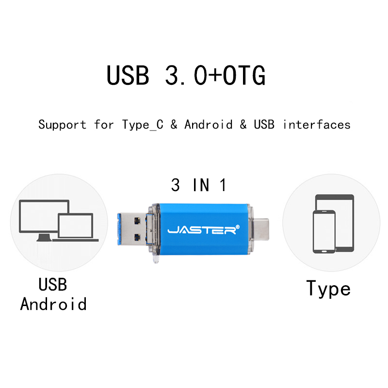 JASTER 3 em 1 cor usb3.0 OTG USB flash drive GB 32 16GB Pendrive 4GB GB 64 6GB de disco U USB flash drive para PC / Android telefone