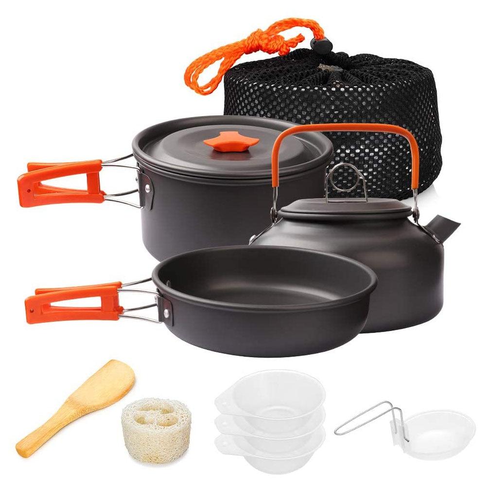 Kit d'ustensiles de cuisine pour le camping en extérieur, en aluminium, bouilloire à eau, casserole de voyage, randonnée pique-nique, barbecue BBQ, équipement de cuisson 1