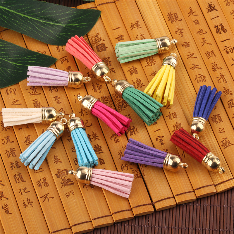 500pcs 40mm Gold CCB Cap Tassel Vintage Faux Leather Tassels For DIY Jewelry Making Fringe Keychain Cellphone Straps Pendant