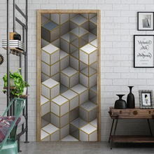 Home decoration stickers Wardrobe renovation sticker Door Waterproof removable Gold square geometric pattern