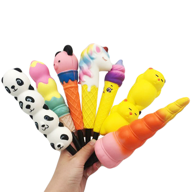 Funny Novelty Kawaii Cat Unicorn Pen Cap Squishy Slow Rising Pencil Holder Soft Squeeze Toy Stress Relief  Kids Learning Toys