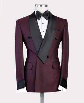 2019 New Burgundy Red With Black Lapel Men's Slim Fit Formal Suits Custom Made 2 Pieces Wedding Tuxedos Suits Jacket Pants - DISCOUNT ITEM  0% OFF All Category