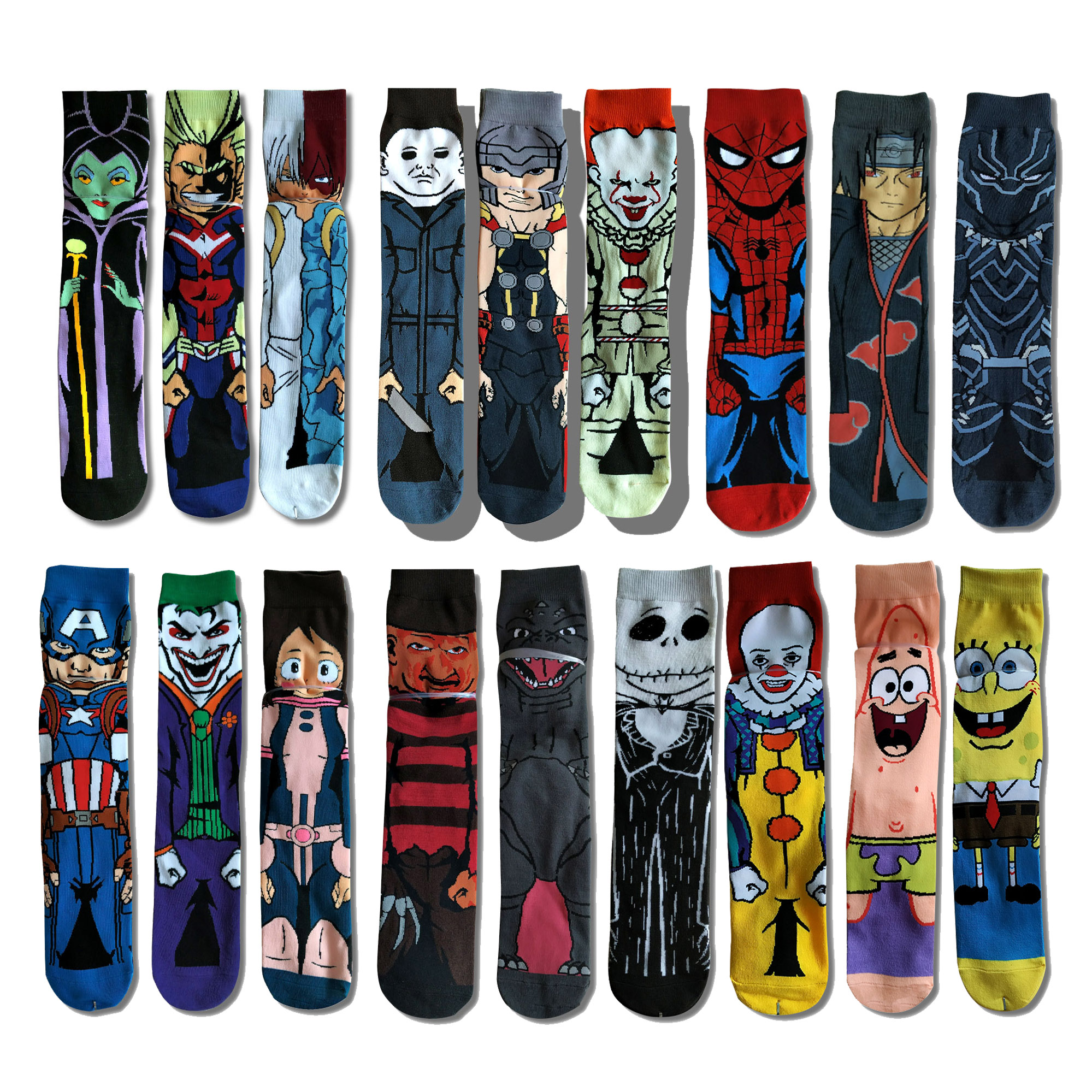 Casual Hip Hop Anime Cartoon Socks Men Fashion Funny Superhero Spiderman Men's Socks Dress Cotton Warm Marvel Dress Socks