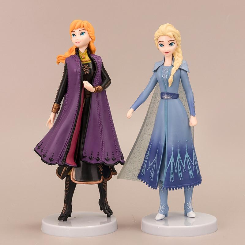 2 шт. Disney Frozen 2 Снежная королева Эльза Анна ПВХ фигурка Аниме ПВХ Куклы Фигурки детские игрушки Детский подарок|Игровые фигурки и трансформеры|   | АлиЭкспресс