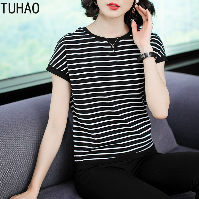 TUHAO Women Summer Shirt Blouse Top Plus Size 4XL 3XL Blouses for Mother Mom Short Sleeve Striped Shirts Tops Large Size Clothes