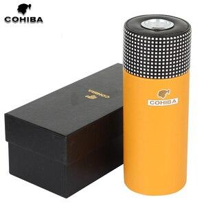 COHIBA Leather Cigar Tube Jar