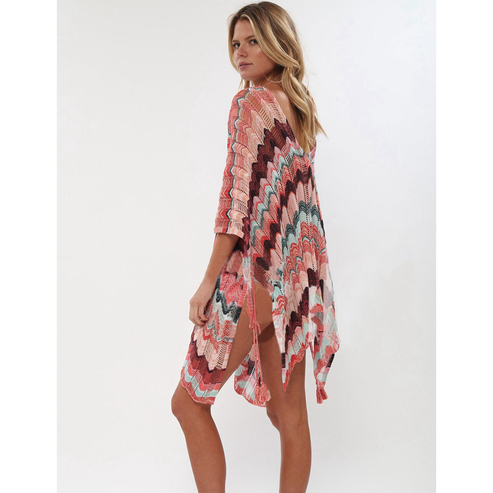 Sexy Beach Tunic Deep V Mesh Mini Dresses Knitted Cover Up 14