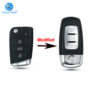 OkeyTech 3Button Modified Remote Car Key Shell Case Cover Fob For Volkswagen Passat Golf 7 MK7 Skoda Seat Leon For Skoda Octavia