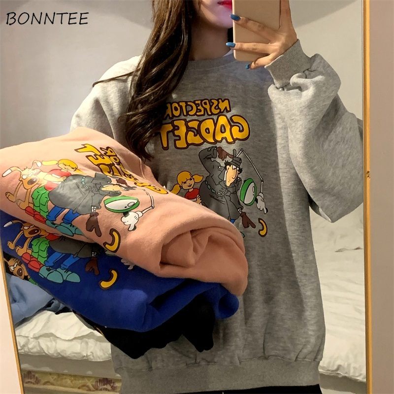 No Hat Hoodies Women Cartoon Pullover Print Long Sleeve Thicker Warm Womens Outwear Korean Style Students Ulzzang Harajuku Chic
