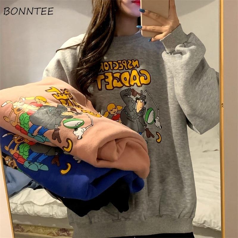 No Hat Hoodies Women Cartoon Pullover Print Long Sleeve Thicker Warm Womens Outwear Korean Style Students Ulzzang Harajuku Chic