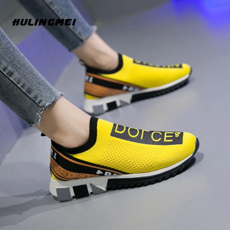 Women Flat Sneaker Air Mesh Soft Knitted Vulcanized Shoes Round Head Breathable Female Plus Size Casual Shoes 35-45
