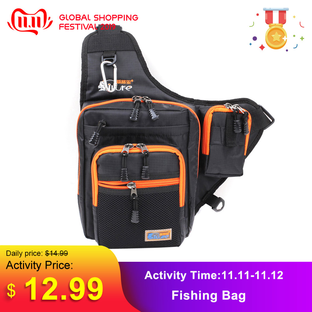 Ilure Waterproof Fishing Bag Multifunction Men Canvas Carp Fishing Reel Lure Bag 32*39*12CM Fishing Reel Lure Waist Tackle Bag