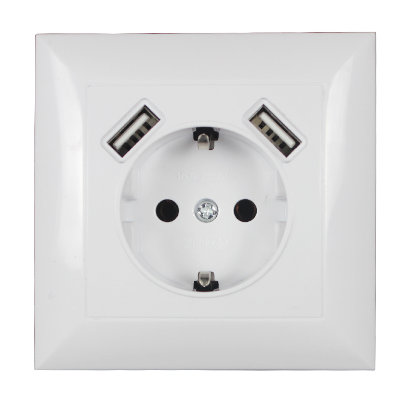 2020 New Wall Electronic Socket 5V2A Eu Standard Power Outlet With Dual Home Usb Plug Charger Power Socket With Usb V7