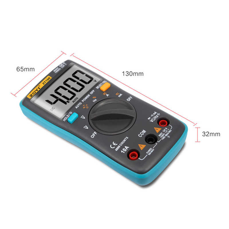 Zt100 디지털 멀티 미터 4000 카운트 백 라이트 ac/dc 전압 전류계 옴 9.999 mhz 주파수 다이오드 미니 포켓 전압계