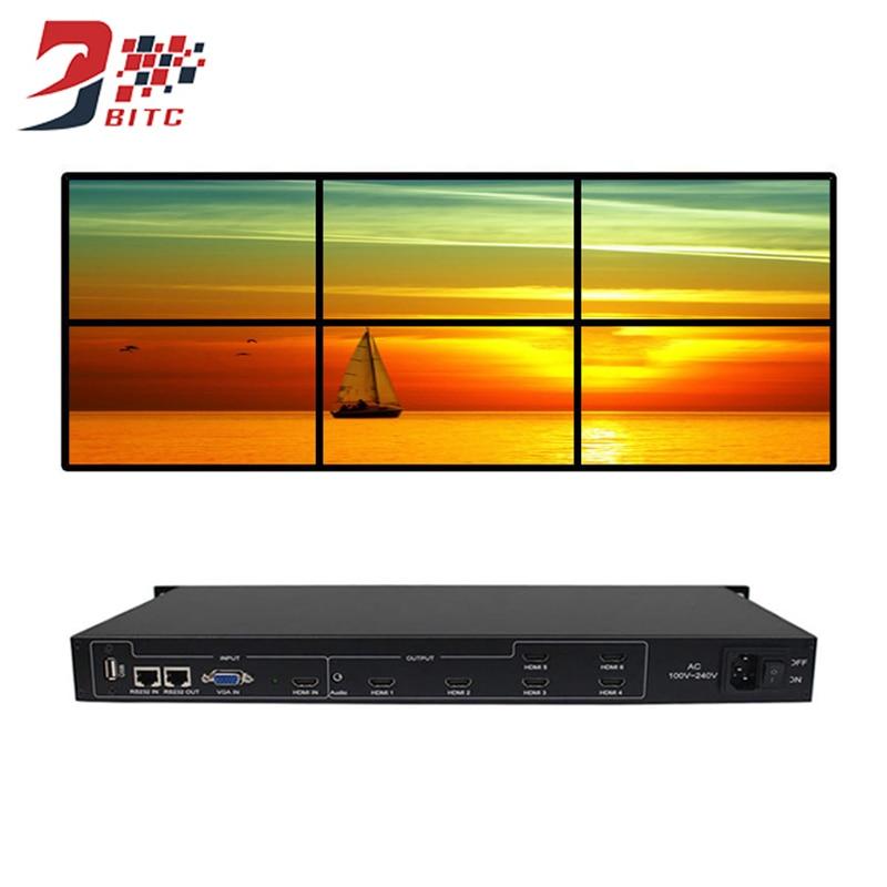 SZBITC 6 canaux processeur de mur vidéo 2x3 3x2 HDMI VGA USB contrôleur Audio vidéo 180 Rotation 1080P pour 6 épissage TV