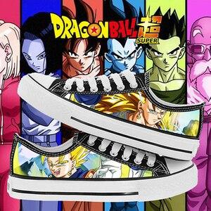 Anime dragon ball impressão lona sapatos de baixa ajuda meninos meninas amantes respirável sapatos de lazer para adolescentes das mulheres dos homens estudantes