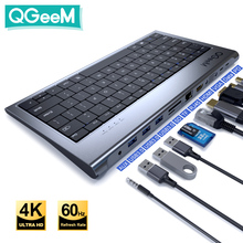 QGeeM USB C Hub for Macbook Pro Triple Display Type C Hub to Dual 4K HDMI & DP Micro