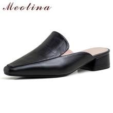 Meotina Women Pumps Natural Genuine Leather Low Heels Mules Shoes Square Toe Block Heel Causal Ladies Footwear Summer Black 39 pu square toe block heel slingback pumps