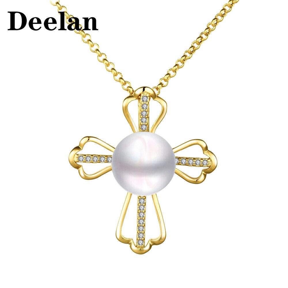 DEELAN Mode Halskette für Frauen Rose Gold farbe Österreichischen kristall Schmuck mädchen Imitation perle Kreuz charm Anhänger Halsketten