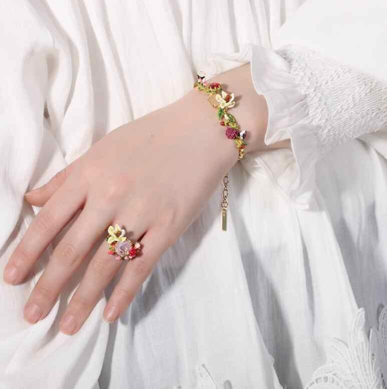 Handmade Designer enamel glaz flower gem lavender necklace Bracelet and ring Women's luxury jewelry