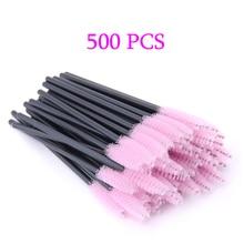 Cepillo para maquillaje de pestañas, extensión de pestañas, ceja desechable, aplicador de rímel, pestañas, cosméticos, 500 Uds.