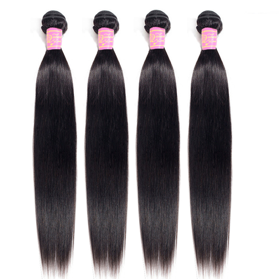 Queen Love Hair Brazilian Straight Wave Hair 4 Pcs/Lot  Non Remy Human Hair Bundles Hair Weave 8-26 Inch Natural Color Can Dyed