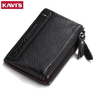 Image 1 - KAVIS portefeuilles Vintage en cuir véritable pour femmes, Mini portefeuille à fermeture éclair, porte monnaie, pochettes, 100%