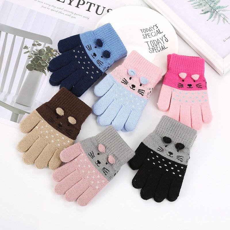 2019 Winter Children Gloves Cute Cartoon Cat Printed Wool Knitted Full Finger Mittens For Girls Christmas