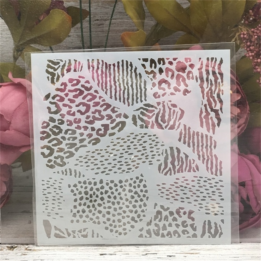 15*15cm Leopard Texture DIY Layering Stencils Wall Painting Scrapbook Coloring Embossing Album Decorative Template