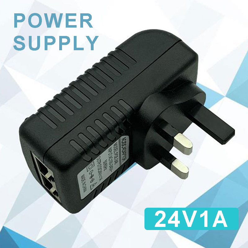 Pohiks 24V/1A POE Injector Power Adapter UK Plug Wireless Electric Supply Adapters for IP Phone/Security Camera Systems