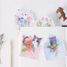 30 шт/упак kawaii cat бумаги для заметок на клейкой основе клейкая