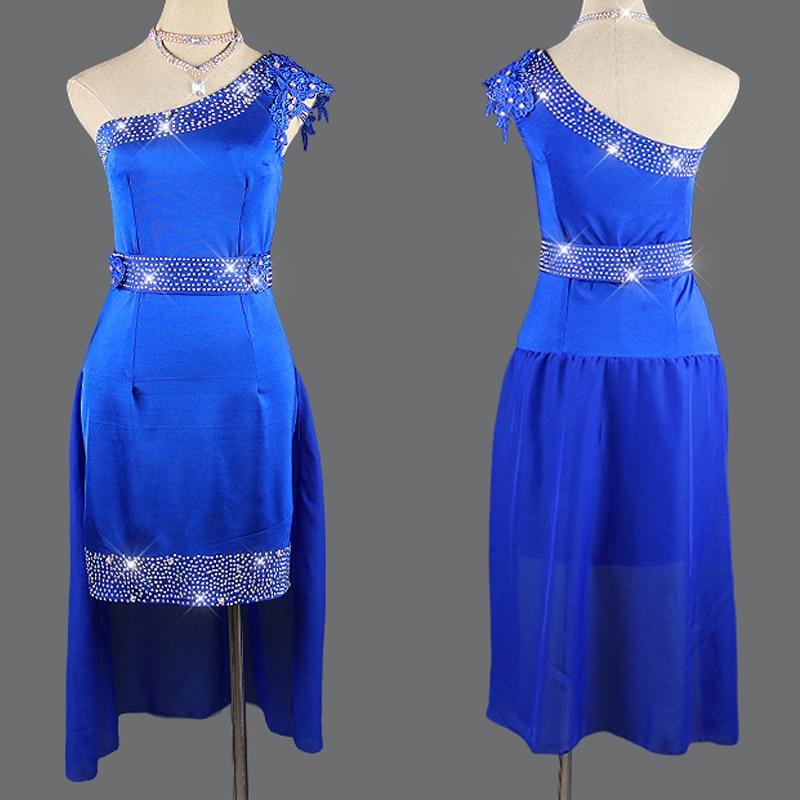 Latin Dance Dress New Blue Competition Dress Ladies Rhinestone Dress Salsa Rumba Dance Clothes Women Sexy Latin Dresses BL2744